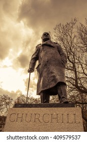 A close-up shot of the Sir Winston Churchill statue in Westminster, London.