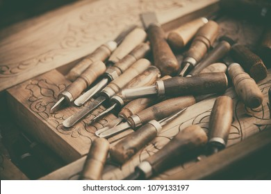 Close-up shot of some wood engraving tools.