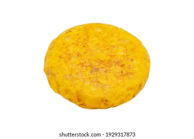 A closeup shot of a Spanish omelet isolated on a white background