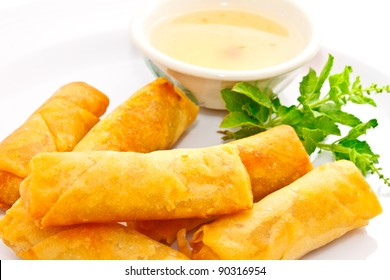 closeup shot of springrolls with sweet plum sauce