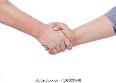 A close-up shot of two hands shaking, isolated on a white background.