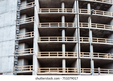 Closeup shot of unfinished apartment building wall at a construction site