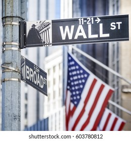 Close-up shot of Wall Street street sign in Manhattan, New York, USA.