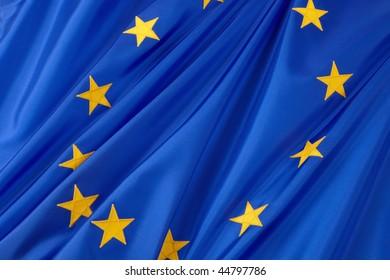 Closeup shot of wavy European Union flag