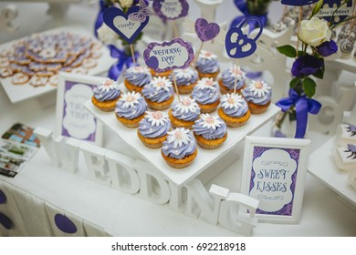 Closeup shot of a wedding candy bar decoration elements.