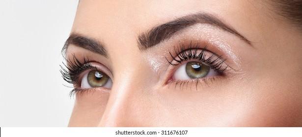 Closeup shot of woman eye with day makeup. Long eyelashes