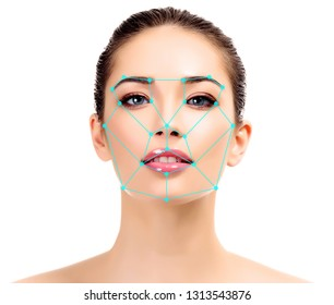 Closeup shot of woman with scnanning grid on the face.  Security, facial ID recognition concept, isolated on white background
