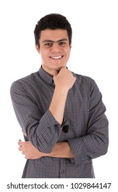 a close-up shot of a young man putting one hand on his chin smiling isolated on a white background