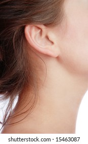 Close-up shot of young woman's neck and ear
