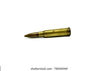 Close-up shots A bullet is a war weapon on a white background.