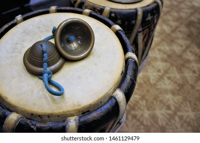 Close-up shots of the cymbals placed on the drum(Glong khaek).