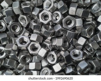 Close-up shots of steel nuts