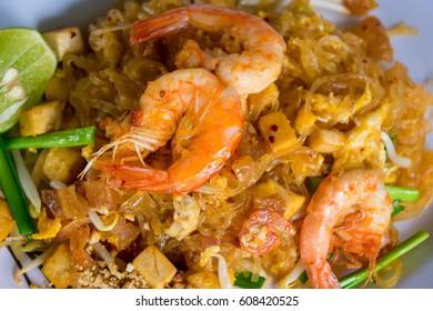 Close-up Shrimps Pad Thai, Thai style noodles, Thai food