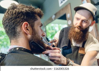 Close-up side view of the head of a young man and the hands of a skilled hairstylist, trimming his beard with comb and scissors in a cool hair salon