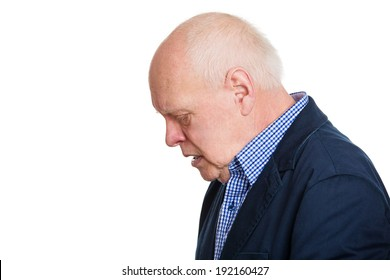 Closeup side view headshot, old, depressed, gloomy looking man, guy, isolated white background. Human face expressions, emotions, feeling, life perception, reaction