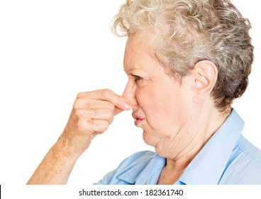 Closeup side view portrait old lady, senior executive, grandmother, disgust on her face, pinching nose something stinks, displeased with situation, isolated white background. Interpersonal conflict
