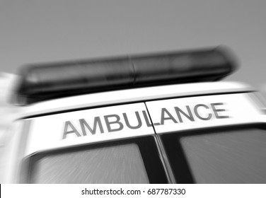 Closeup of sign on ambulance with zoom effect