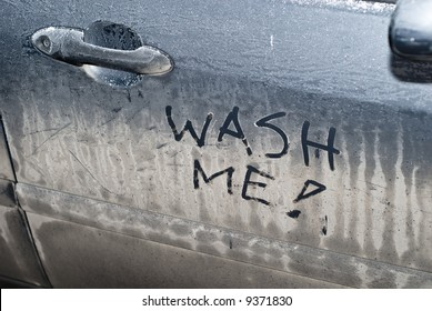Closeup of sign on door of dirty car