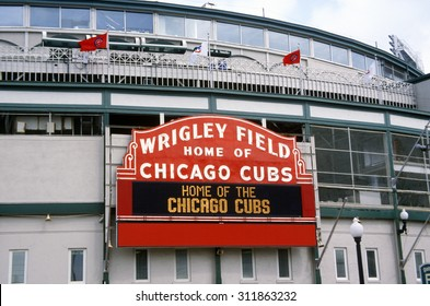 Close-up of signage at Wrigley Field, Illinois, home of Chicago Cubs