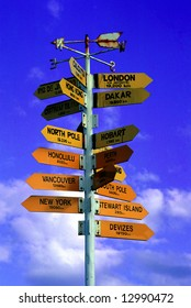Closeup of a signboard with directions to everywhere