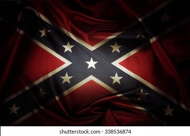 Closeup of silky Confederate flag