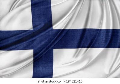 Closeup of silky Finnish flag