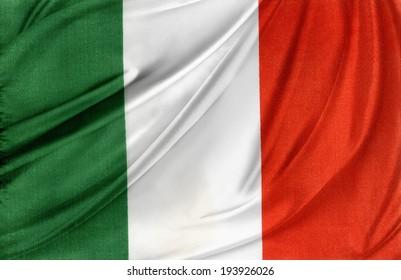 Closeup of silky Italian flag
