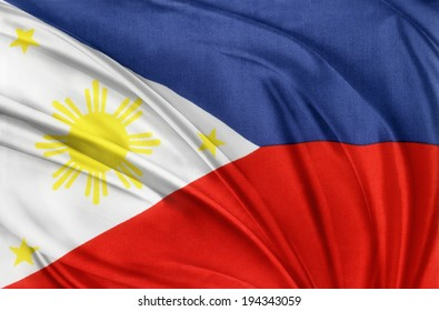 Closeup of silky Philippines flag