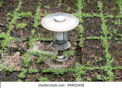 Closeup Silver Christmas Lamp On Green Grass Background