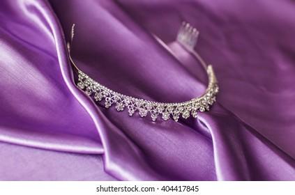 Close-up silver diadem