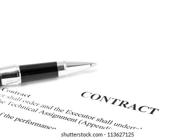 Close-up of silver pen on contract. isolated