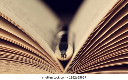 Close-up of a silver pen in the open pages of an old book