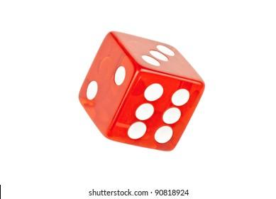 Nahaufnahme eines einzigen Steins, der sechs rollt.