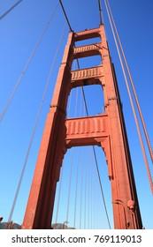 Closeup of a single tower of Golden Gate bridge