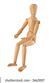close-up of a sitting  wooden figure isolated on pure white background