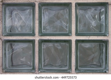Close-up of Six built-in glass blocks