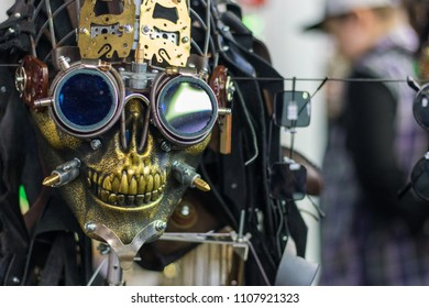 Close-up of skull in steampunk googles