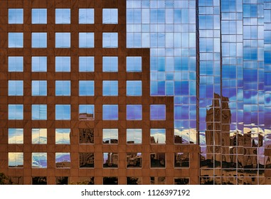 Closeup of a skyscraper with reflections