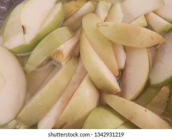 Closeup of sliced apples. Also in monochrome.