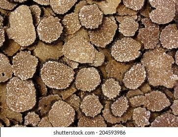 closeup of sliced black truffles