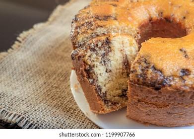 Closeup of a sliced cake