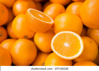 Closeup of sliced oranges on a market