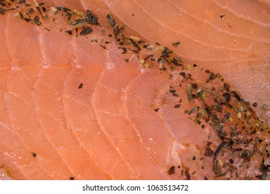 Closeup sliced salmon fillet. Macro photography. Food concept background