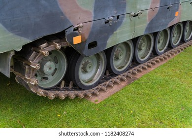 closeup of a small armored vehicle
