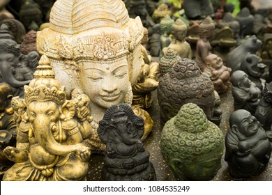 Closeup of a small statue representing a Balinese god, Bali, Indonesia