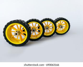 Close-up small wheels for slot cars on a table