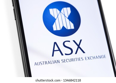 closeup smartphone with ASX logo on the screen. ASX Australian securities exchange. Moscow, Russia - March 17, 2019
