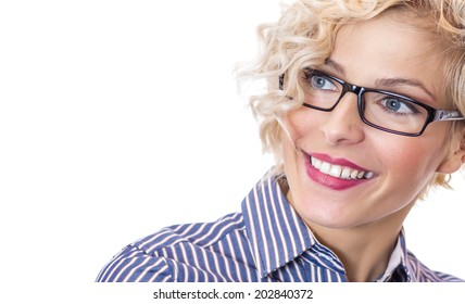 Close-up smile happy young woman ,isolated on white background. Head shot of businesswoman wearing eyeglasses