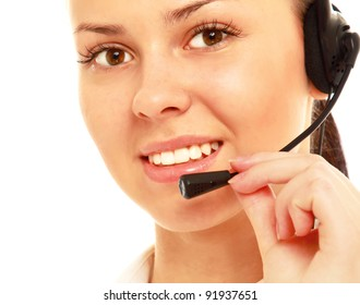 Closeup of a smiling customer service girl, isolated on white background