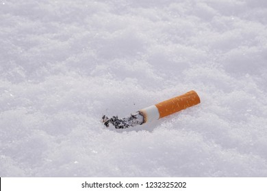 closeup of smoking cigarette butt on a snow with copy space